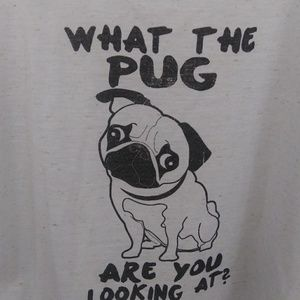 Pug graphic cropped tee. Size M. LA Hearts